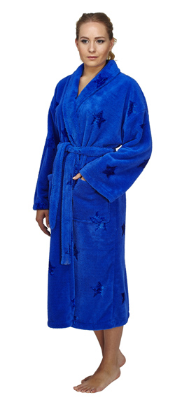 Star Design Shawl Fleece Bathrobe